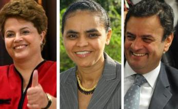 Candidates Dilma Rousseff,  Marina Silva, and Aecio Neves