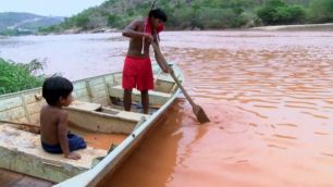 Toxic mud in Rio Doce river