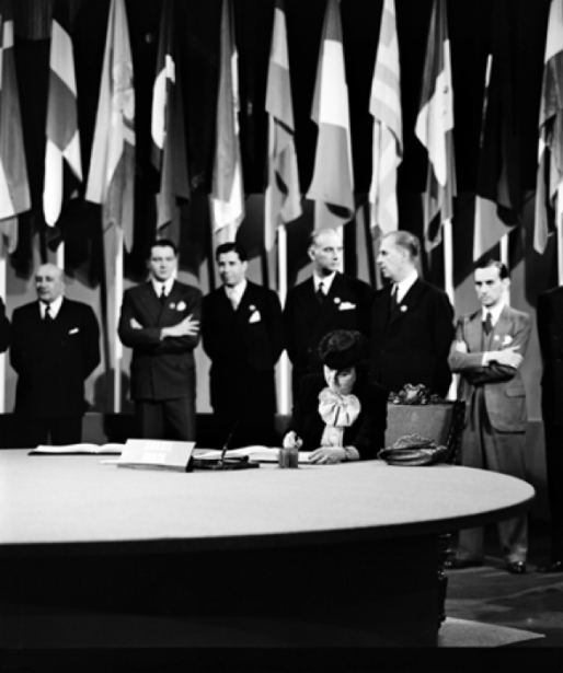 The San Francisco Conference, 25 April - 26 June 1945: Brazil Signs the United Nations Charter Dr. Bertha Lutz, National Museum, President of the Confederated Association of Women of Brazil, former Congresswoman and member of the delegation from Brazil, signing the UN Charter at a ceremony held at the Veterans' War Memorial Building on 26 June 1945.